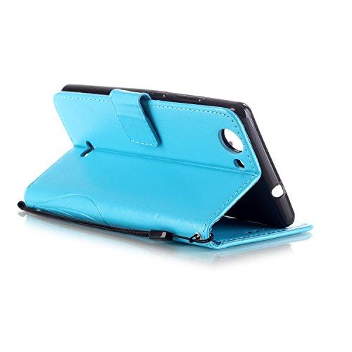 Prägen Blumen-Case, Magnetverschluss Synthetische PU-Leder-Kasten-Abdeckung mit hängenden Seil und Wallet-Funktion für WIKO PULP 4G ( Color : Pink , Size : WIKO PULP 4G ) Blue