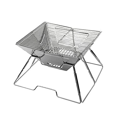 Tragbare Kleine Barbecue Grill Edelstahlkohle Raucher Broil BBQ Pit Grill Für Ourdoor Camping Picknicks, Silber, 36 * 36 * 21 Cm