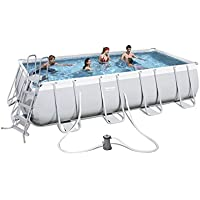 Bestway Power Steel 56481 - Piscina (Piscina con Anillo Hinchable, Rectangular, 13177 L, Azul, Gris, 110 cm, PVC)