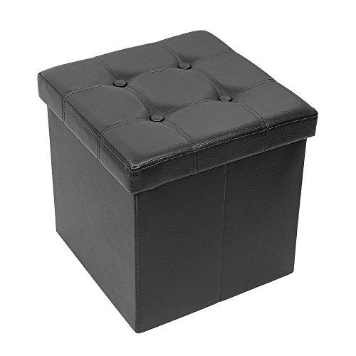 AMOIU 38 x 38 x 38cm Baúl Puff Taburete Plegable de Almacenamiento Escabel, Mesita de Café Asiento Cómodo Relleno de Esponja, Cuero de imitación Negro