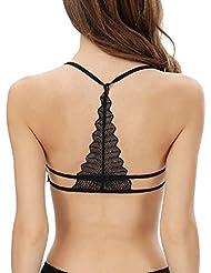 Sannysis ropa interior del sujetador - Mujer Chaleco sin espalda, sujetador de algodón (Negro)