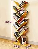 MJY Speicher-Regale Modernes Einfaches hölzernes Baum-Regal-Innenwohnzimmer-Boden-stehende Bücherregale Mehrschichtspeicher-Vollenden-Regale,Gelb