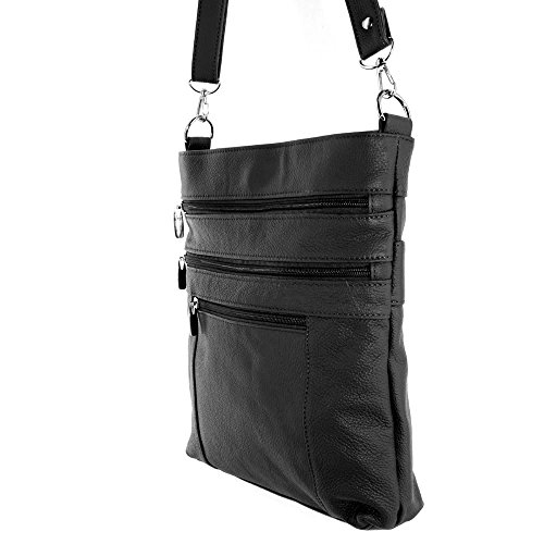 Unisex Italienischem Leder Bote Schulter überqueren Körper Tasche Ipad Kompatibel Unisex By Silver Fever ® Schwarz 603