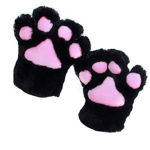 tfxwerws Party Cosplay Katze Pfote Plüsch Handschuhe (schwarz) (Katze Schwarz Plüsch Kostüme)