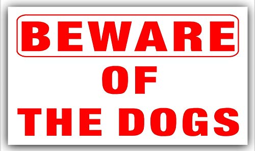 1 x BEWARE OF THE dogs-adhesive vinyl-red/white-sticker-security Warnschild Home oder Business Home-security-sticker