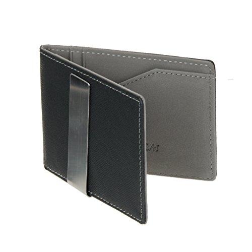 C2K Men Women PU Leather Durable Money Penny Clip Cards Holder Organiser Purse Wallet Gray