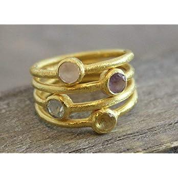 Citrin Rosenquarz Blautopas Amethyst Edelstein Vergoldet Sterling Silber Ring US-Größe 8 / Diameter 18.2