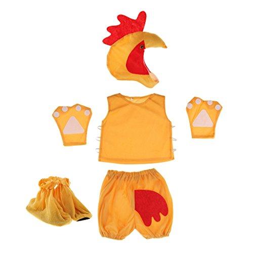 Fenteer Karneval Kinder Tier Kostüm Tiermotiv Fuchskostüm Tierkostüm Faschingskostüm Halloween Zubehör - Hahn