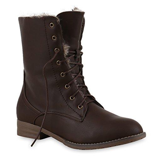 Warm Gefütterte Damen Stiefeletten Worker Boots Kunstfell Schuhe Dunkelbraun