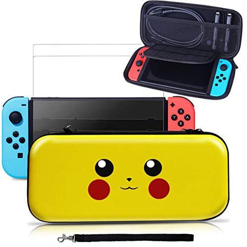 Tasche für Nintendo Switch, Aibeau Tragbare Reisetasche Schutzhülle für Nintendo Switch mit größerem Speicherplatz und 10 Spielkarten Grau (Y)