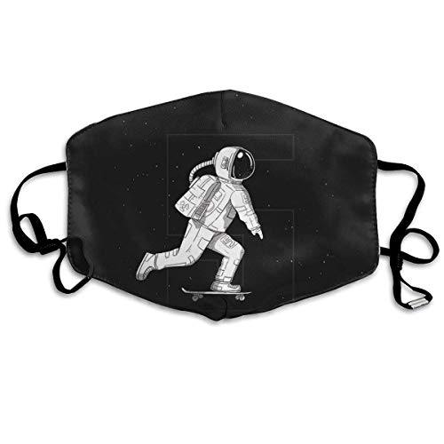 liang4268 Mundmasken Anti Dust Mask Astronauts Play Skateboards in Space Anti Pollution Washable Reusable Mouth Masks Unisex for Women Teens Men