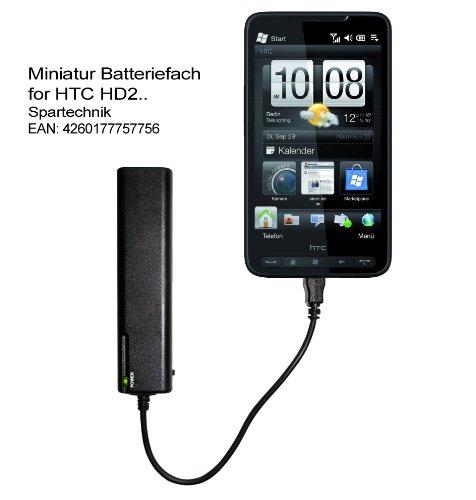 Miniatur Batteriefach HTC HD2: Externes Batterieladegerät für HTC Smartphone HTC Serien HD 2 LEO Desire HD Mini