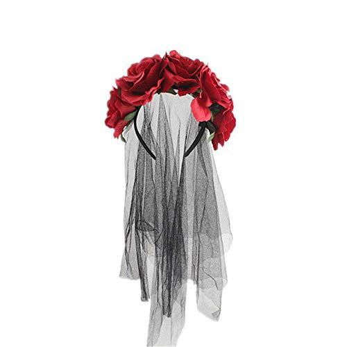Biback Rose Stirnband Blumen Krone Blume Schleier Kopfschmuck Day The Dead Halloween Kostüm, ()
