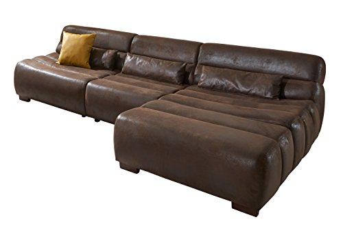Cavadore Polsterecke Scoutano in Antiklederoptik mit Longchair rechts / Sofa L-Form mit XXL Longchair im Industrial Design / Größe: 268 x 76 x 170 cm...