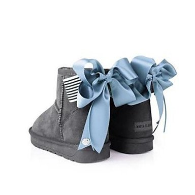 Stivali da donna Comfort Cowhide Suede Spring Comfort casual Marrone scuro Grigio Nero Piatto Gray