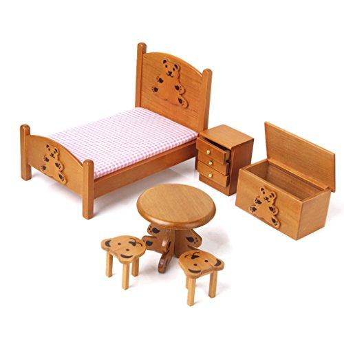 Scala 1/12 Casa Delle Bambole Miniatura - Set Mobili Camera Da Letto Per Bambini In Legno