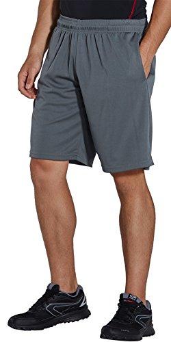 KomPrexx Sporthose Herren Kurz mit Taschen - SCHNELL TROCKNEND - Fitness Sport Shorts mit Kordelzug Kurze Trainingshose (Gray2,2XL)