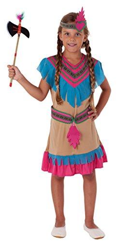 ndianer Kostüm Kinder Mädchen beige - Faschingskostüm Indianerin Kostüm (110/116) ()