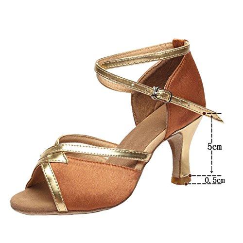 Wxmddn Le donne di Latino del scarpe da ballo profondità nella pelle oro scarpe da ballo 5cm outdoor scarpe da ballo soft suole di calzature quattro stagioni Di colore oro scuro 5cm per esterno