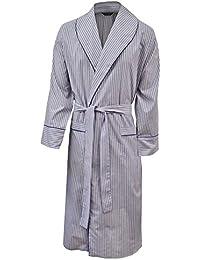 Robe de chambre légère 100% coton - rayé bleu / rouge - homme