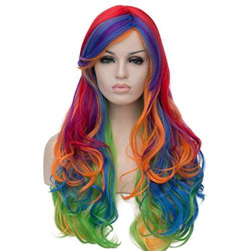 ATAYOU Long Wavy Mix Colored Synthetic Cospaly Wig Heat Resistant Halloween Karneval Wigs