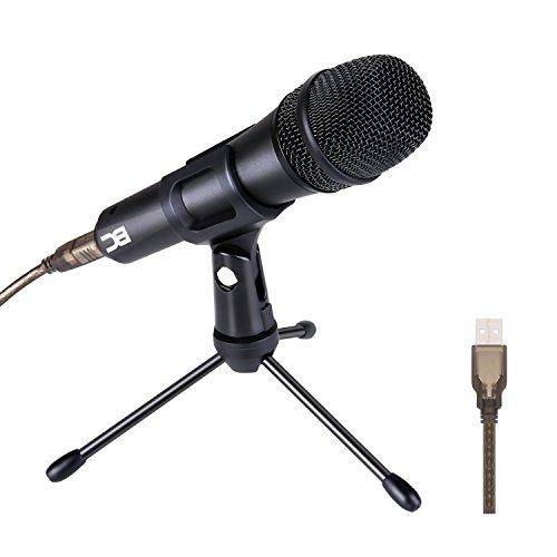BC Master Micrófono USB Dinámico Cardioide Metálico Profesional de Grabación con Trípode para PC Mac Windows Estudio Cantar Gaming Youtube, etc - DM35U(Negro)