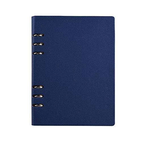 Jia HU A5Leder Binder Ringe Taschen Diary Tagebuch Notizbuch Portfolio Organizer 150Seiten dunkelblau (4x6 Portfolio-buch)