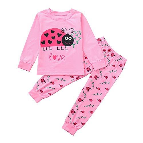 KUKICAT Pyjamas Enfant Impression de Bande Dessinée, Haut Imprimé Lettre Coccinelle Suit Service à Domicile Sleepwear