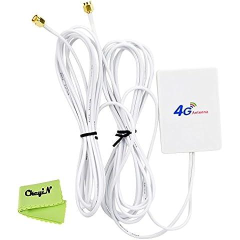 Ckeyin ® LTE doble SMA interfaz de conector de antena externa Amplificador de señal del amplificador de 28dBi con 2,9 m de cable para / router móvil 3G 4G (Mobile WiFi HotSpot 4G -à router de bolsillo y 4G USB