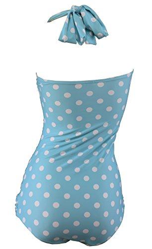 Aloha-Beachwear Rockabilly Vintage Look Neckholder Damen Badeanzug mit Polka Dots gepunktet Punkte A3039 (L / 40 / UK 14, Türkis / Weiss) -