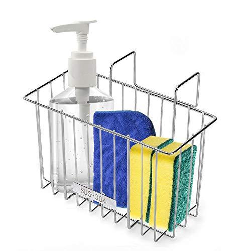 SHiZAK 304 (18/8) Edelstahl Küchenspüle Schwamm Halter, Spüle Caddy Organizer Abtropfgestell für Schwamm, Seife, Bürste, Geschirrspül-Zubehör