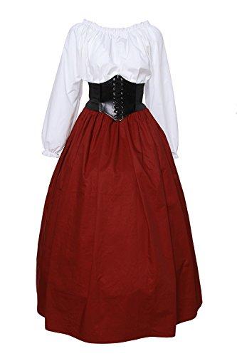 Damen mittelalterliche viktorianischen Schulter Vintage Kleid Königin Kostüm Top und Rock (M, GC227A-GC228A-P1-NI) (Viktorianischen Kleider Kostüme)