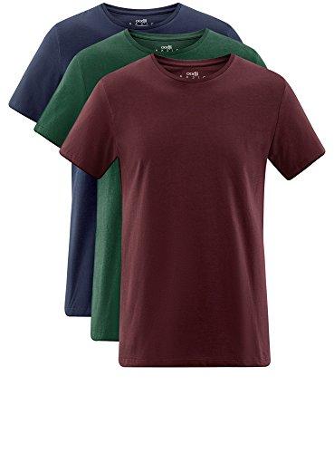 oodji Ultra Herren T-Shirt Basic (3er-Pack) Mehrfarbig (1907N)