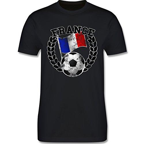 EM 2016 - Frankreich - France Flagge & Fußball Vintage - Herren Premium T-Shirt Schwarz