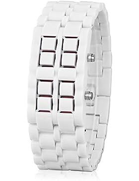 GSPStyle Unisex Blau LED Uhr Herrenuhr Damenuhr Kunststoff Armbanduhr Quarzuhr Farbe Weiss