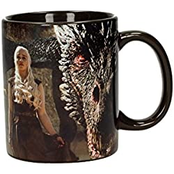 SD Toys Game of Thrones Taza con Diseño Dragón and Daenerys, Cerámica, Negro, 10x14x12 cm