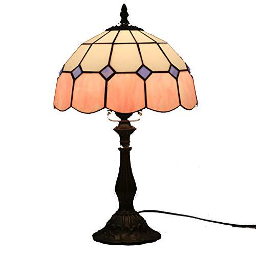 Yjmgrowing Tiffany Stil Lampe 10'Retro Einfache Glasmalerei Schlafzimmer Nachttischlampen Antiken Stil Arbeitszimmer Bücherschrank...