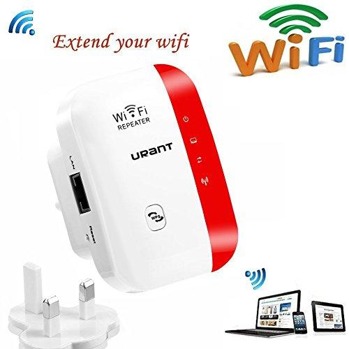 URANT Wireless Network Extender WiFi Repeater WLAN Verstärker Mini Access Point 2.4GHz mit WPS Funktion Willigt IEEE802.11n/g/b Rot