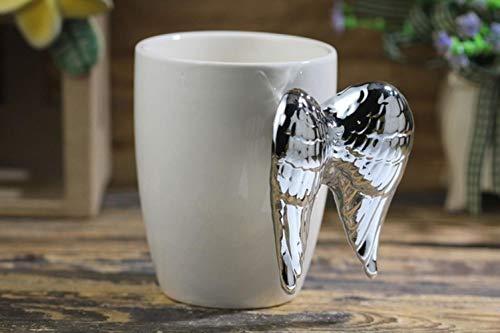 Cappuccinotassen Tasse Reisebecher 3D Goldene Silberne Engelsflügel Keramik Kaffeetasse Engelsflügel Handgriff Swig Cup Beste Geschenk Für Freundin Liebhaber Kinder, Silbrig, 301-400Ml