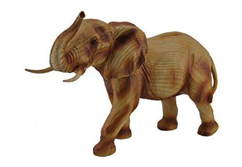 Geschnitzte Holz-akzente (Faux Holz geschnitzt Look Trunk Up Walking Elefant Statue)
