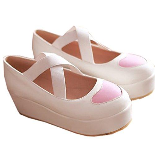 Partiss Damen Sweet Lolita Shoes Japanisch High-top Casual Schuhen Lolita Pumps Herbst Fruehling Hochzeit Tanzenball Maskerade Cosplay Bowknots Platform Pumps Lolita Schuhen Weiß