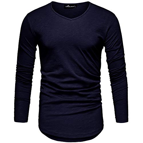 REPUBLIX Oversize Herren Longsleeve Vintage Sweatshirt V-Neck Basic V-Ausschnitt Shirt R-0039 Navyblau L