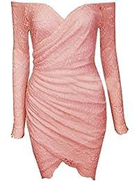 Blansdi Femmes Sexy Lace manches longues bretelles irrégulière Robe moulante Clubwear Jupe