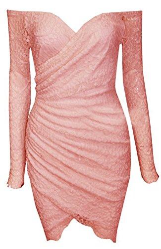 Blansdi Femmes Sexy Lace manches longues bretelles irrégulière Robe moulante Clubwear Jupe Blanc