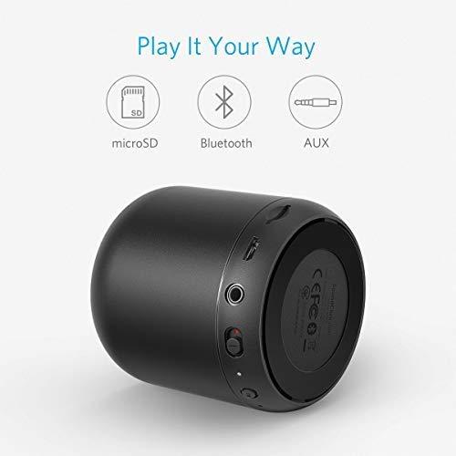Anker SoundCore Mini Super Mobiler Bluetooth Lautsprecher Speaker mit 15 Stunden Spielzeit, 20 Meter Bluetooth Reichweite, FM Radio und Starken Bass (Schwarz) - 4