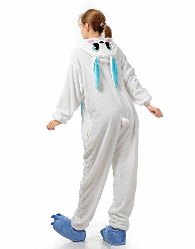Cliont Animal Tutina sveglio del coniglio di Cosplay Pigiama Kigurumi Natale gli indumenti da notte del costume del Anime Blu