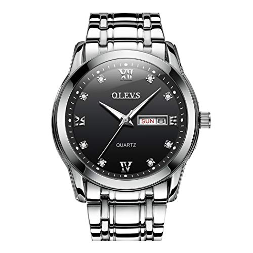 Herren Uhren, L'ananas Männer High-End Woche Datumsanzeige Leuchtend Zeiger Stahlgürtel Armbanduhren Men Watches Wristwatches (Silber+Schwarz)