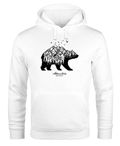 (Hoodie Herren Bär Abenteuer Berge Wald Bear Mountains Adventure Kapuzen-Pullover Männer Neverless® weiß M)
