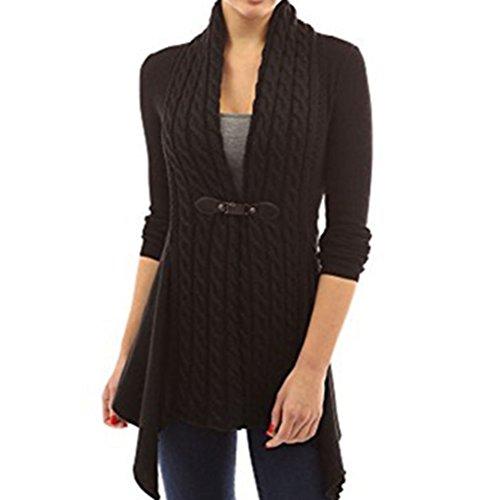 Femme Cardigan Tricoté à Manches longues Chandail Casual Pull Col V Sweater Elegant Gilet Outwear Blouson Sweatshirt Black