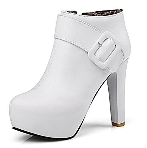 AllhqFashion Damen Hoher Absatz Zweifarbig Rund Zehe Ziehen auf Stiefel mit Schleife, Rosa, 34